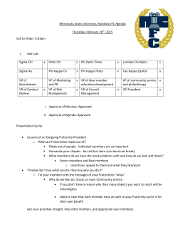 Minnesota State University, Mankato IFC Agenda Thursday, February 26 , 2015