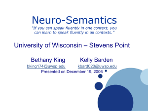 Neuro-Semantics – Stevens Point University of Wisconsin Bethany King