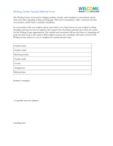 Writing Center Faculty Referral Form