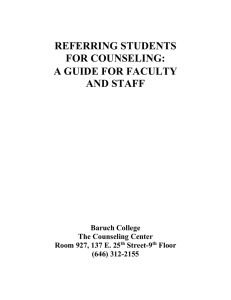 REFERRING STUDENTS FOR COUNSELING: A GUIDE FOR FACULTY