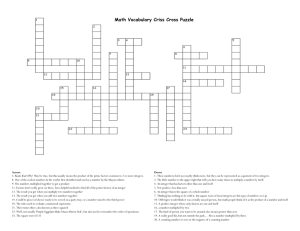 Math Vocabulary Criss Cross Puzzle