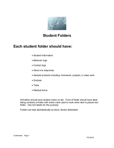 Student Folders Each student folder should have: