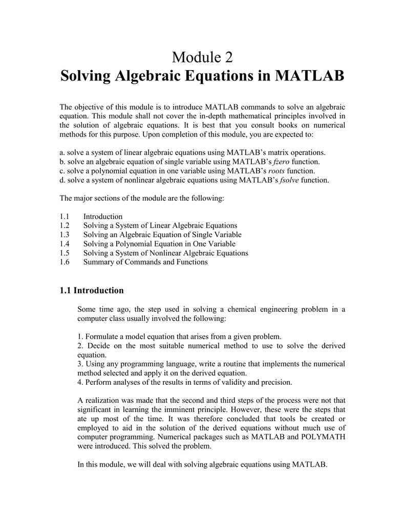 Module 2 Solving Algebraic Equations in MATLAB