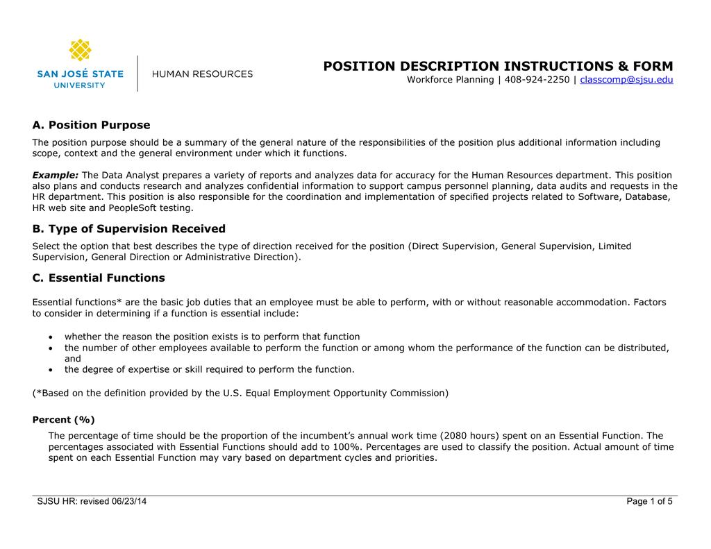 POSITION DESCRIPTION INSTRUCTIONS &