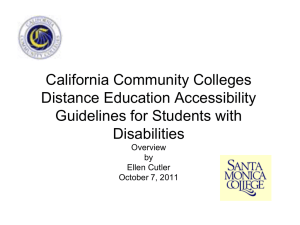 California Community Colleges Distance Education Accessibility Guidelines for Students with Disabilities