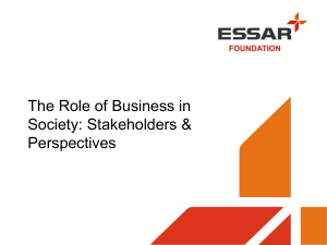 The Role of Business in Society: Stakeholders & Perspectives