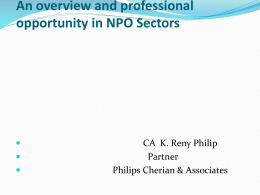 An overview and professional opportunity in NPO Sectors Partner