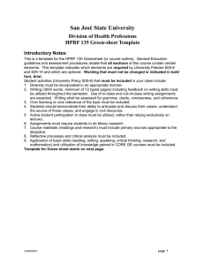 San José State University Division of Health Professions HPRF 135 Green-sheet Template