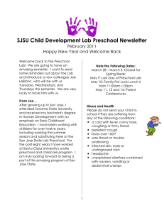 SJSU Child Development Lab Preschool Newsletter February 2011