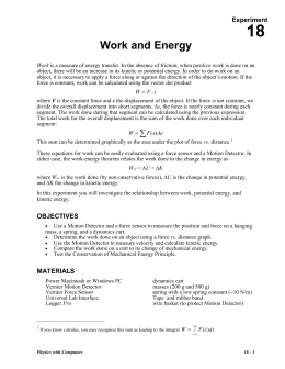 18 Work and Energy Experiment