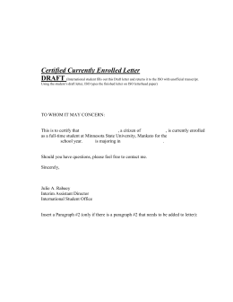 Certified Currently Enrolled Letter DRAFT
