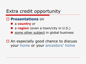 Extra credit opportunity  Presentations on