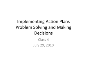 Implementing Action Plans Problem Solving and Making Decisions Class 4