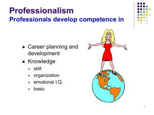 Professionalism Professionals develop competence in Career planning and development