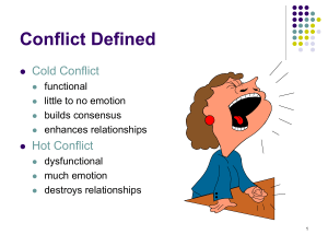 Conflict Defined Cold Conflict Hot Conflict