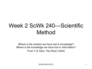 —Scientific Week 2 ScWk 240 Method