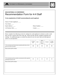 Recommendation Form for 4-H Staff 2016 NATIONAL 4-H CONFERENCE