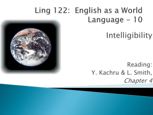 Intelligibility Chapter 4 Reading: Y. Kachru & L. Smith,