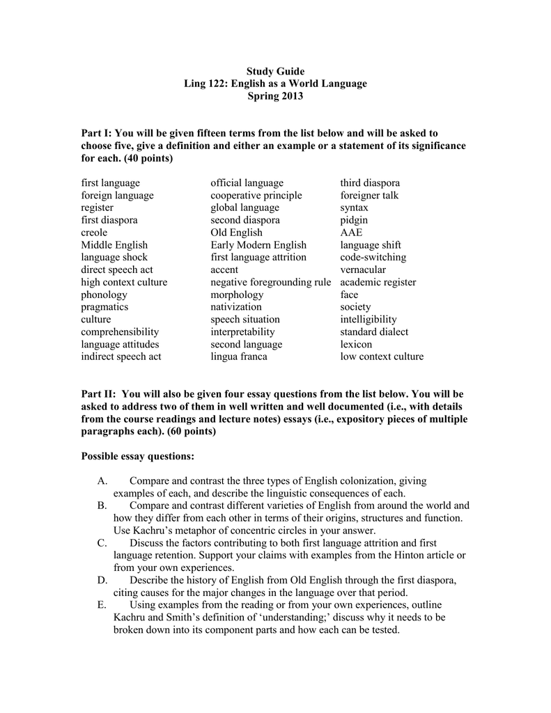 study guide ling  english as a world language spring