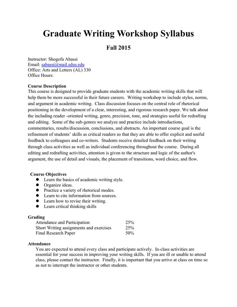 Graduate Writing Workshop Syllabus Fall 2015