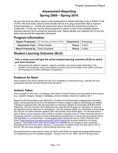 Assessment Reporting – Spring 2010 Spring 2009