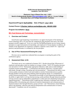 SJSU Annual Assessment Report
