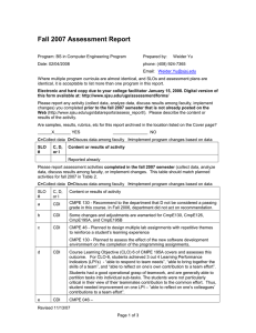 Fall 2007 Assessment Report