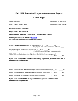 Fall 2007 Semester Program Assessment Report Cover Page