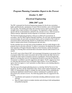 Program Planning Committee Report to the Provost October 9, 2007 Electrical Engineering