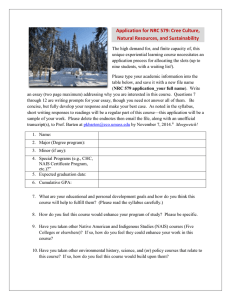 Application for NRC 579: Cree Culture, Natural Resources, and Sustainability
