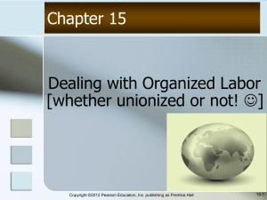 Dealing with Organized Labor [whether unionized or not! ] Chapter 15 15-1