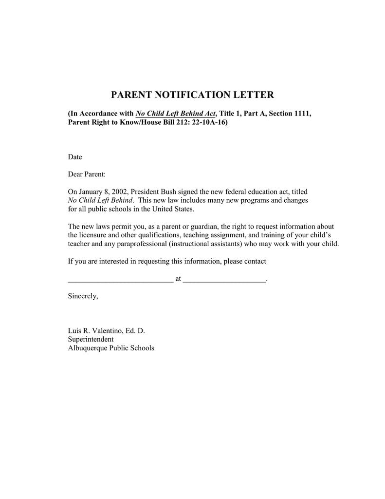 Parent Notification Letter