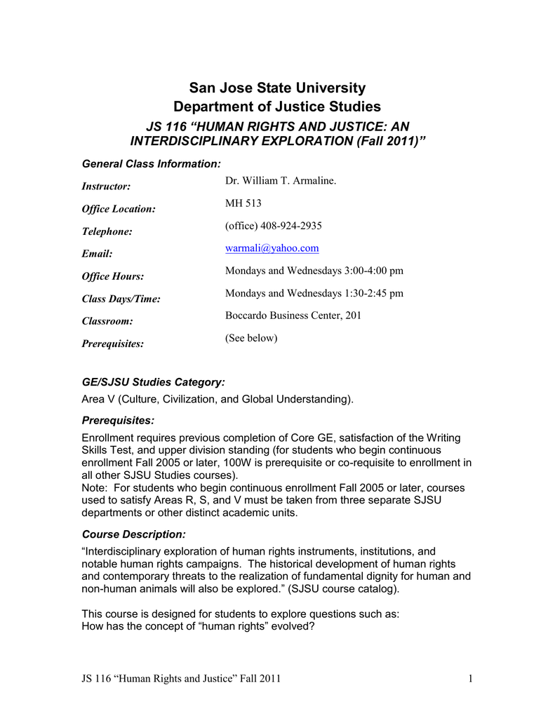 "San Jose State University Department Of Justice Studies Interdisciplinary  Exploration (fall 2011)"""