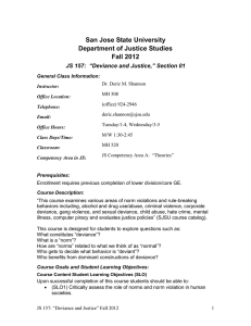 San Jose State University Department of Justice Studies Fall 2012