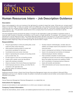 Human Resources Intern U2013 Job Description Guidance Description