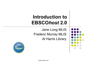 Introduction to host Jane Long MLIS Frederic Murray MLIS