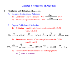 Chapter 8 Reactions of Alcohols I. Oxidation and Reduction of Alcohols