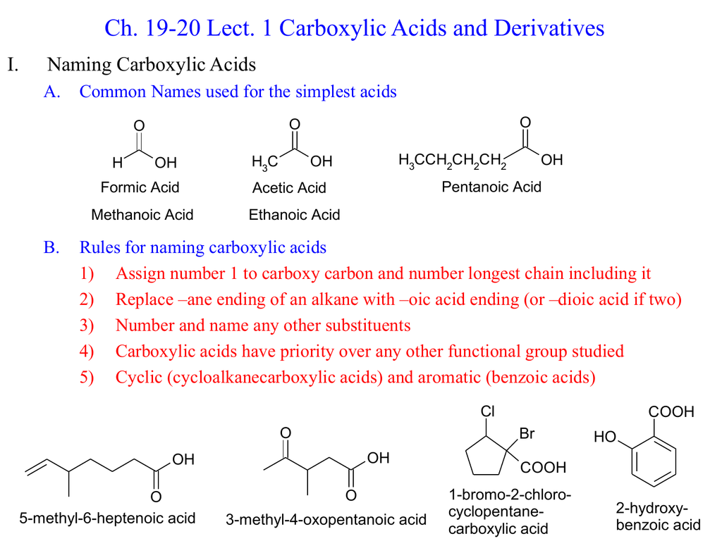 1 Carboxylic Acids And Derivatives I Naming