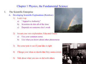Chapter 1 Physics, the Fundamental Science I. The Scientific Enterprise