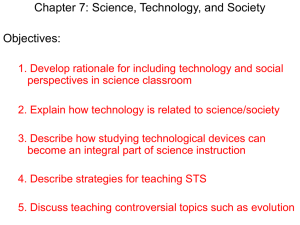 Chapter 7: Science, Technology, and Society Objectives: