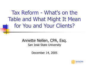Tax Reform - What's on the for You and Your Clients?