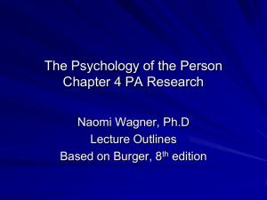 The Psychology of the Person Chapter 4 PA Research Naomi Wagner, Ph.D