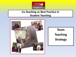 Team Teaching Strategy Co-Teaching as Best Practice in
