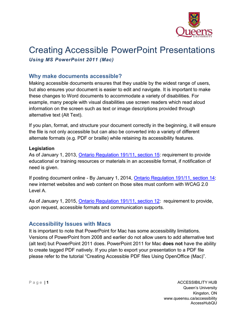 Creating Accessible PowerPoint Presentations Why make