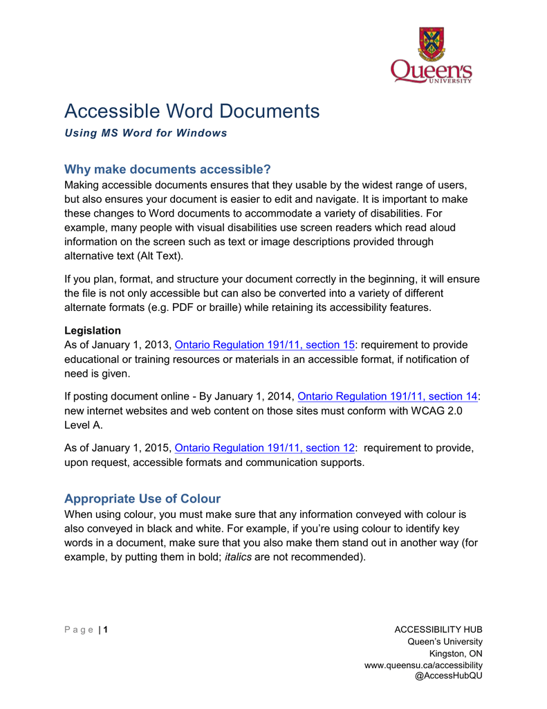 Accessible Word Documents Why make documents accessible?