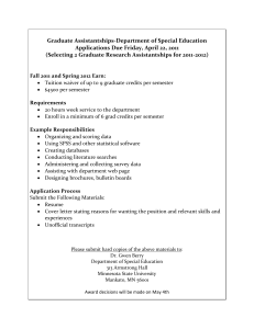 Graduate Assistantships-Department of Special Education Applications Due Friday, April 22, 2011