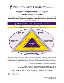 Program Design for Specialist Degree in Educational Leadership