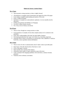 Rubric for Literary Analysis Papers  The A Paper The B Paper
