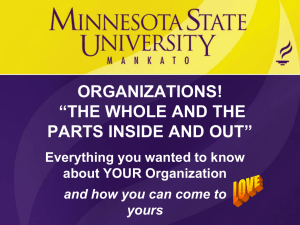 "ORGANIZATIONS! ""THE WHOLE AND THE PARTS INSIDE AND OUT"""
