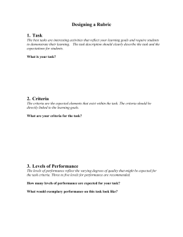 Designing a Rubric  1.  Task